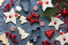 Fondo con las diversas galletas del pan de jengibre, C del día de fiesta de la Navidad Foto de archivo libre de regalías