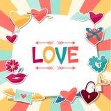Fondo con las etiquetas engomadas de la tarjeta del día de San Valentín y de la boda Fotografía de archivo