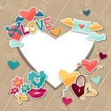 Fondo con las etiquetas engomadas de la tarjeta del día de San Valentín y de la boda Foto de archivo libre de regalías