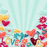 Fondo con las etiquetas engomadas de la tarjeta del día de San Valentín y de la boda Foto de archivo