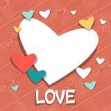Fondo con las etiquetas engomadas de la tarjeta del día de San Valentín y de la boda Fotos de archivo