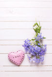 Fondo con las flores azules blandas y el corazón decorativo rosado Fotografía de archivo
