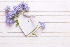 Fondo con las flores azules y el corazón decorativo Fotografía de archivo libre de regalías