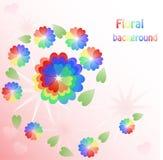 Fondo con las flores del arco iris de los corazones Foto de archivo libre de regalías