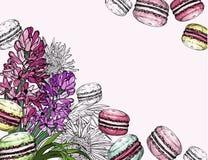 Fondo con las flores del jacinto del postre y de la primavera de los macarrones libre illustration