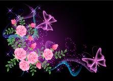 Fondo con las flores, el humo y la mariposa Fotos de archivo