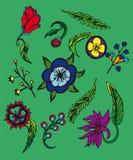 Fondo con las flores y la hoja de la historieta ilustración del vector