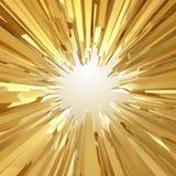 Fondo con las formas cristalinas de oro agudas 3d Foto de archivo