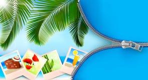Fondo con las fotos a partir de días de fiesta en una playa Imágenes de archivo libres de regalías