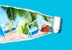 Fondo con las fotos a partir de días de fiesta en una playa Fotos de archivo libres de regalías