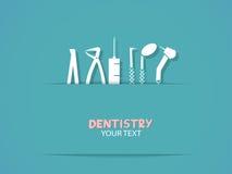 Fondo con las herramientas de la odontología Imagen de archivo