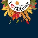 Fondo con las hojas de otoño multicoloras Ilustración del vector Imágenes de archivo libres de regalías