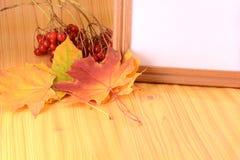 Fondo con las hojas de otoño y el marco de madera Foto de archivo libre de regalías
