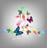 Fondo con las mariposas Imágenes de archivo libres de regalías