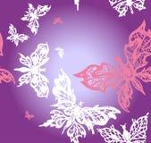 Fondo con las mariposas rosadas y blancas Fotos de archivo