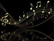 Fondo con las notas de la música Foto de archivo libre de regalías