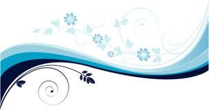 Fondo con las ondas del azul y los motivos florales Foto de archivo libre de regalías