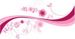 Fondo con las ondas del color de rosa y los motivos florales Imagen de archivo