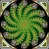 Fondo con las piedras de gema de la pluma del pavo real Imagenes de archivo