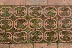 Fondo con las piedras de pavimentación rizadas, primer de los adoquines Textura inconsútil Chimbrone, Italia Fotografía de archivo libre de regalías