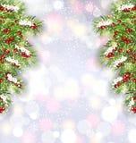 Fondo con las ramas de árbol de abeto, bandera que brilla intensamente de la Navidad por Feliz Año Nuevo Imagenes de archivo