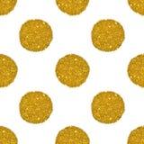 Fondo con las rondas del brillo de oro, modelo inconsútil Fotografía de archivo