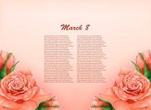 Fondo con las rosas en colores pastel hermosas Fotografía de archivo libre de regalías