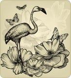 Fondo con las rosas florecientes, flami del vintage del pájaro libre illustration
