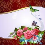 Fondo con las rosas rosadas stock de ilustración