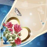 Fondo con las rosas y las estrellas rosadas ilustración del vector