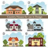 Fondo con le case di campagna per uso nella progettazione Immagine Stock Libera da Diritti
