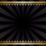 Fondo con le decorazioni dell'oro ed i raggi - annata nera Fotografia Stock Libera da Diritti