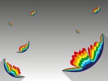Fondo con le farfalle dell'arcobaleno Fotografia Stock Libera da Diritti