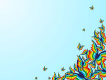 Fondo con le farfalle dell'arcobaleno nell'angolo dell'immagine Immagine Stock Libera da Diritti