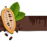 Fondo con le fave di cacao Immagini Stock Libere da Diritti