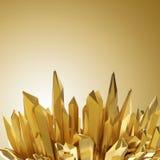 Fondo con le forme di cristallo dorate taglienti 3d Fotografia Stock Libera da Diritti