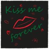 Fondo con le labbra, bacio, cuore di stile di lerciume Fotografie Stock