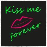 Fondo con le labbra, bacio, cuore di stile di lerciume Immagini Stock Libere da Diritti
