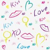 Fondo con le labbra, bacio di stile di lerciume Immagine Stock