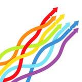 Fondo con le linee dell'arcobaleno con le frecce Fotografia Stock
