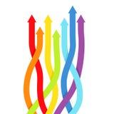 Fondo con le linee dell'arcobaleno con le frecce. Fotografie Stock