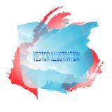 Fondo con le macchie dell'acquerello Illustrazione nei colori rossi, blu e bianchi Illustrazione di vettore Immagini Stock