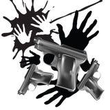 Fondo con le mani stampa e pistole Fotografia Stock