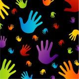 Fondo con le mani variopinte Fotografia Stock
