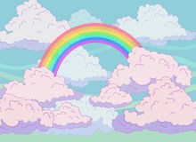 Fondo con le nuvole e l'arcobaleno Immagine Stock