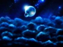 Fondo con le nuvole e lo spazio Immagini Stock