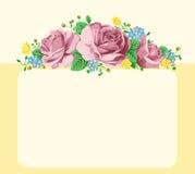 Fondo con le rose e spazio per la scrittura o le congratulazioni Fotografie Stock Libere da Diritti
