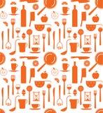 Fondo con le siluette degli utensili della cucina Immagine Stock Libera da Diritti