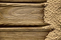 Fondo con legno e la sabbia Fotografia Stock Libera da Diritti