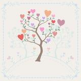 Fondo con los árboles y los corazones Fotos de archivo libres de regalías
